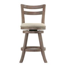 Cortesi Home Harper Counter Stool Beige Fabric Swivel Seat With Back
