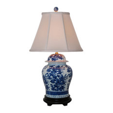 Cleo Porcelain Table Lamp, Blue and White