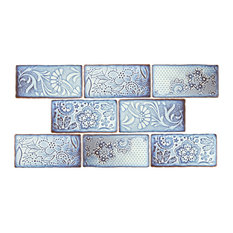"""3""""x6"""" Antiguo Feelings Ceramic Wall Tiles, Set of 8, Periwinkle and White"""