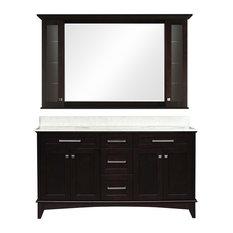 "Manhattan 60"" Dark Espresso Double Sink Bathroom Vanity & Medicine Cabinet"