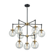 Boudreaux 9 Chandelier Matte Black/Antique Gold