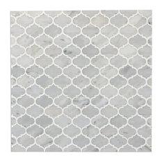"12""x12"" Mini Arabesque Carrara White Polished Waterjet Mosaic, Set of 10"