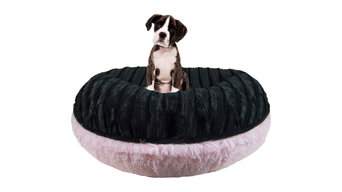 Bessie And Barnie Bagel Bed, Black Puma and Bubble Gum, Large