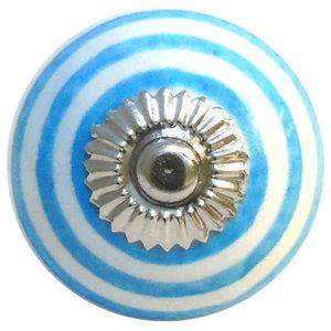 White With Blue Stripes Ceramic Cupboard Knob