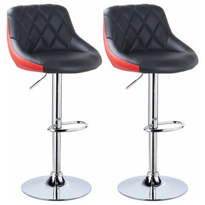 Set of 2 Bar Stools Upholstered, Faux Leather, Adjustable Height, Black