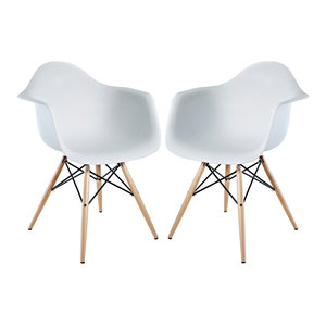 Pyramid Dining Armchairs Set of 2, White