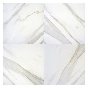 "Pietra Calacatta Procelian 24""x24"" Polished Marble Floor and Wall Tile, 300 Sqft"