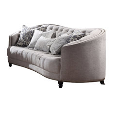 Acme Furniture   Acme Saira Stationary Down Feather Sofa, Light Gray Fabric    Sofas