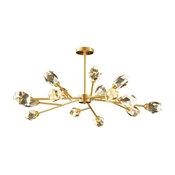 Bari Copper Branch Crystal Chandelier, 15 Lights
