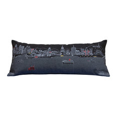 Beyond Cushions Los Angeles Night Skyline Queen Size Embroidered Accent Pillow