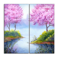 """Flowering Trees Over Lake"" Landscape Canvas Artwork"