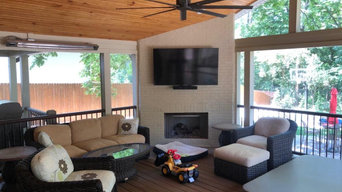 Screen porch, basketball court, and landscaping