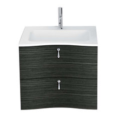 Galatea 2-Drawer Vanity With Resin Washbasin, Charcoal, 24""