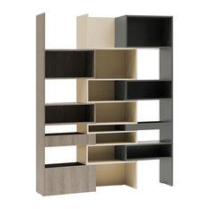 Unique Extending Bookcase by Vox Lori, Graphite and Grey Oak