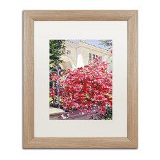 """Glover 'Pink Bougainvillea Mansion' Art, Birch Frame, 16""""x20"""", White Matte"""