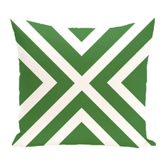 """""""x"""" Marks The Spot Stripes Print Outdoor Pillow, Leaf Green, 20""""x20"""""""