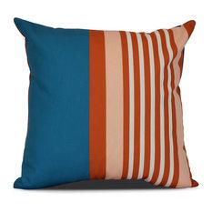 "Beach Shack, Stripe Print Outdoor Pillow, Teal, 16""x16"""