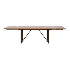 Origin Extension Dining Table Timber Brown, Oil-Rubbed Bronze