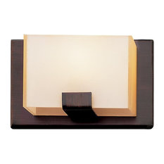 Rubbed Oil Bronze and Acrylic Cube 1-Light Halogen Bath/Wall Sconce