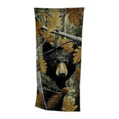Black Bear Leaf Camouflage Print Cotton Beach Towel 28 X 58