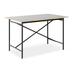 Modern Dining Table, Metal Frame With X-Support and Fiberboard Top, Black