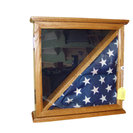 Wood Burial Flag Military Award Display Case Navy