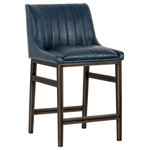 Sunpan - Halden Armless Counter Stool With Rustic Bronze Legs, Vintage Blue - An urban designed stool featuring bold vertical channel tufting on the seat and back in vintage black, cognac and blue faux leather. Finished with a rustic bronze steel frame and stretchers. Great for residential and commercial placements.