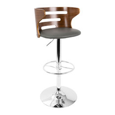 LumiSource Cosi Barstool Walnut And Gray With Swivel