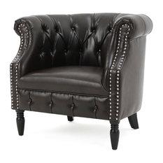 GDF Studio Akula High Back Club Chair, Brown Leather