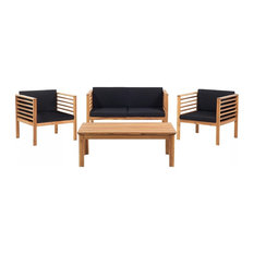 Pacific Brown Garden Furniture With Cushions, 4-Piece Set