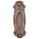 Charleston Hardware Co. - Avalon Passage Pocket Door Handle, Hand Antiqued Brass - Sold individually. 2-3/4in x 8-3/8in handle, 0in recess.