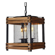 LAMI LIGHT   3 Light Square Metal And Wood Lantern Pendant With Metal Mesh  Shade