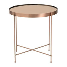 Exceptional Euro Style   Trinity Side Table, Copper Tinted Mirror/Copper Frame   Side  Tables