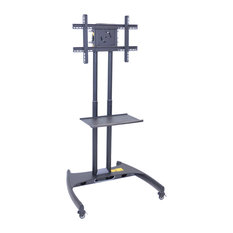 Luxor Adjustable Height Rolling Flat Panel Cart With Accessory Shelf