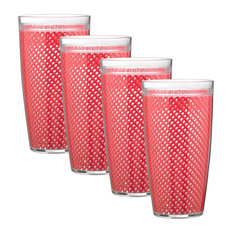 Kraftware Fishnet Double Wall Glasses, Flag Red, 24 oz, Set of 4