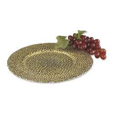 Round Charger with Genuine Antique Gold Leaf Snakeskin Design