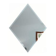 "Reflections 8""x6"" Beveled Blue Diamond Glass Mirror Wall Tile, Set of 30"