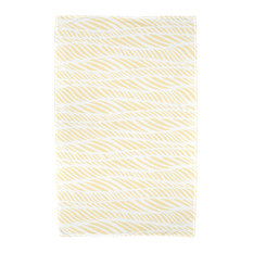 Rolling Waves, Geometric Print Beach Towel, Yellow
