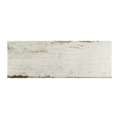"8.25""x23.5"" Lambris Plank Porcelain Floor/Wall Tiles, Set of 8, White"