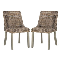 Caprice Wicker Dining Chair in Gray - Set of 2