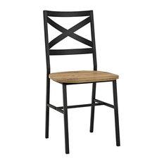 Iron Dining Chairs, Set of 2, Barnwood