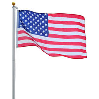 25' Sectional Aluminum Flagpole With Us Flag Ball Kit