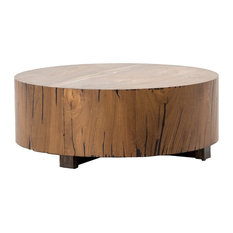 Zin Home Hudson Round Natural Wood Block Coffee Table 40 Tables