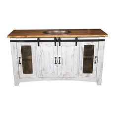 "Anton Barn Door Bathroom Vanity, White, 70"", Single Sink"