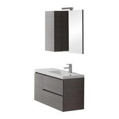 Manhattan Grey Right Basin Bathroom Vanity Unit, Mirror With Shelf, 90 cm