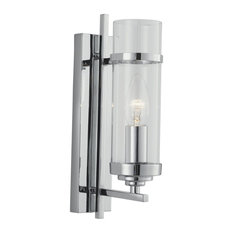 Milo Modern Chrome Switched Wall Light With Clear Cylinder Glass