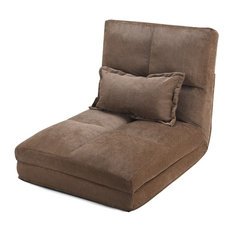 Modern Style Fold Down Chair Flip Out Lounger With Pillow