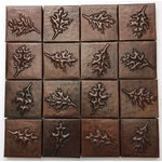 Copperhead Sinks - Copper Tile, Set of 16, 2x2 Leave Design Tiles - Copper tile Set of 16-2x2 leave design tiles