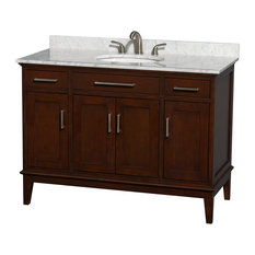 "Hatton 48"" Dark Chestnut Single Vanity With White Carrera Marble Top, Oval Sink"