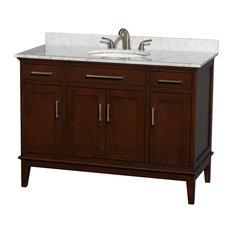 "Hatton 48"" Dark Chestnut Single Vanity With White Carrera Marble Top, Oval Sink"